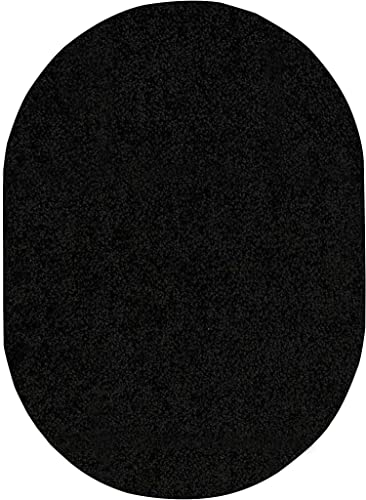 Home Queen Solid Color Indoor Area Rug Black – 6 x9 Oval with Non Slip Backing