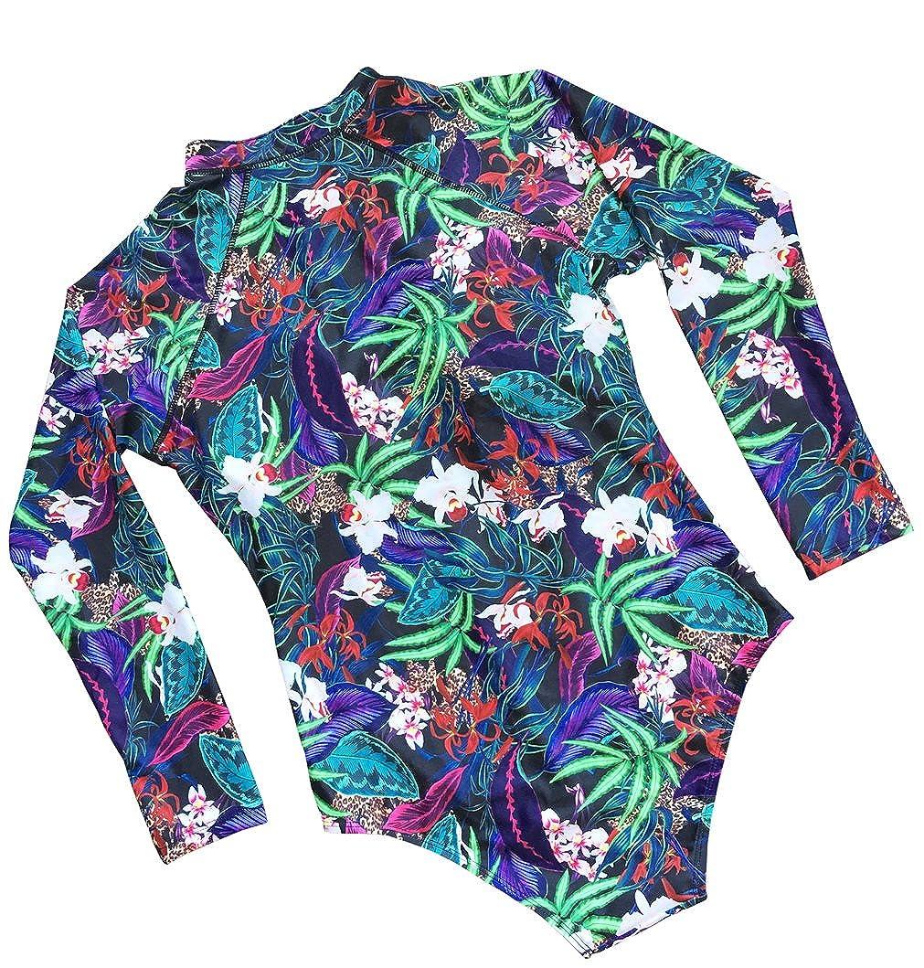 dilinte Long Sleeve One Piece Swimsuit Floral Print Zipper Sun Protection Swimsuit Rash Guard Bathing Suit LOP13
