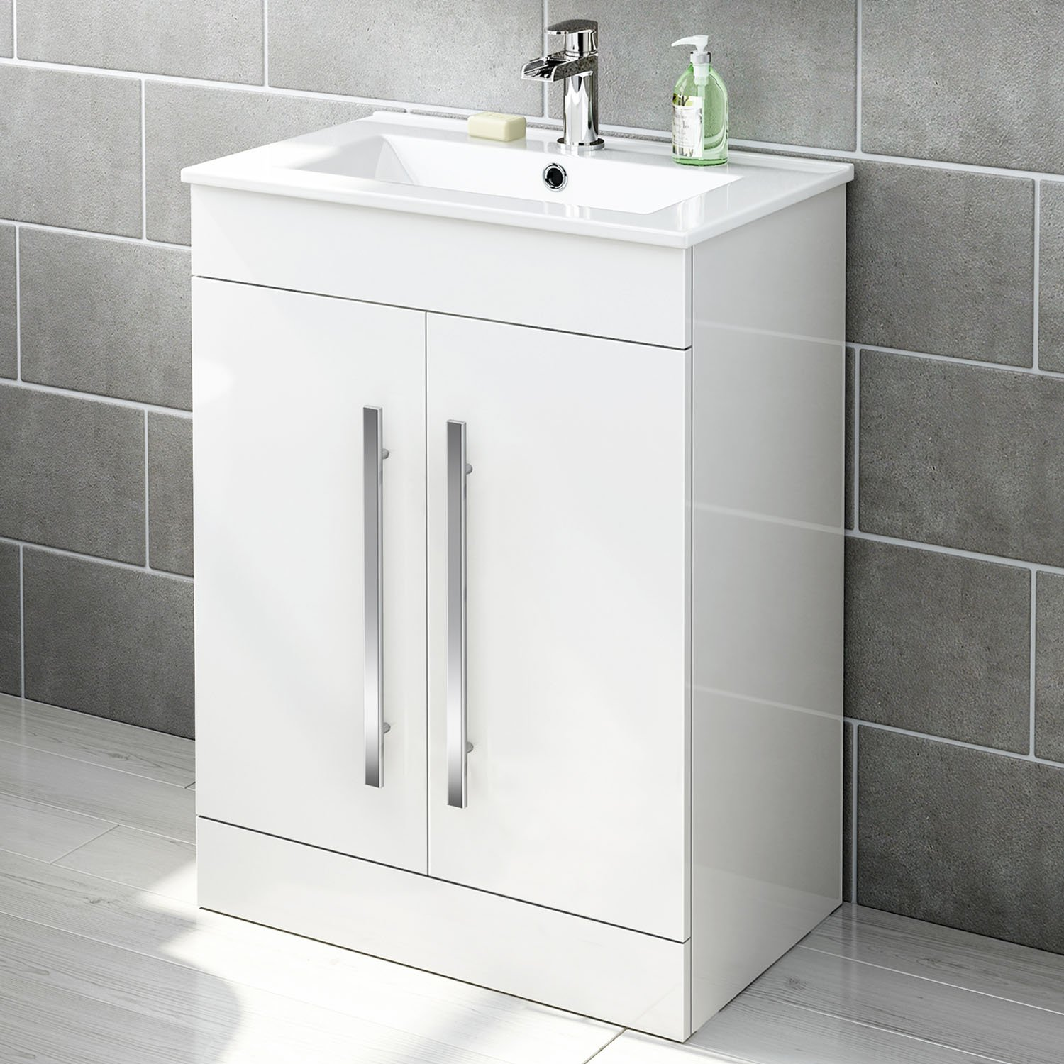 600 mm White Gloss Vanity Sink Unit.