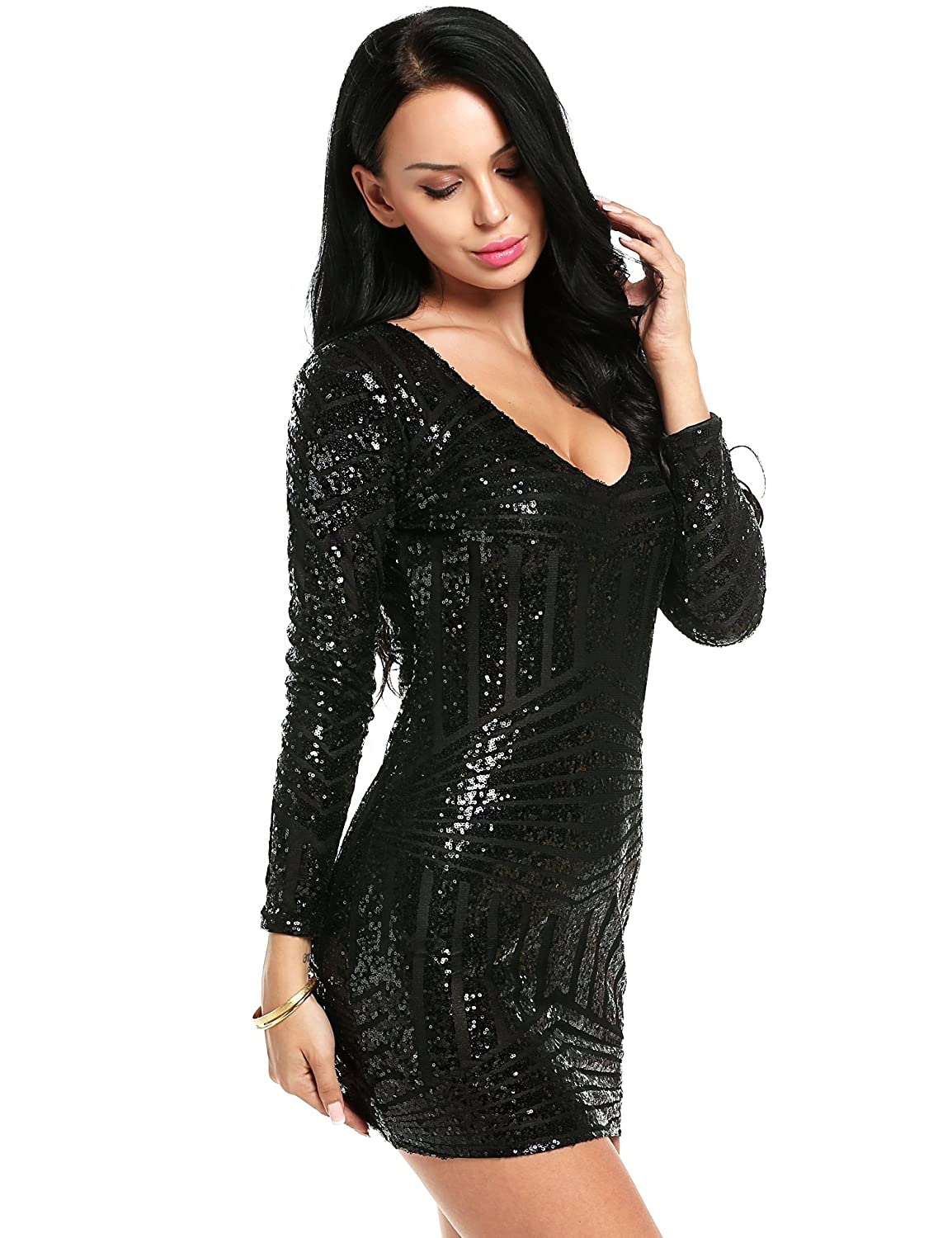 0ce9ce58 Amazon.com: Women Sequin Bodycon Dress V-Neck Long Sleeve sparkly Clubwear  Dress Mini Cocktail Dress: Clothing