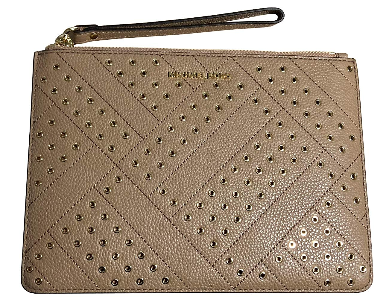 8ea52fae02e3 Michael Kors Jet Set Grommet Leather Clutch Wristlet in Dark Khaki   Handbags  Amazon.com