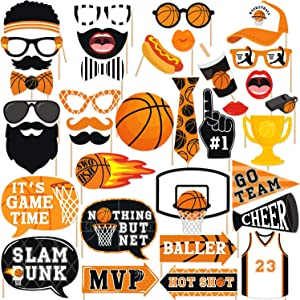 36 PCS Basketball Party Photo Booth Props Slam Dunk March Madness Nothing But Net Kids Birthday Ideas Centerpiece Decoration Supplies