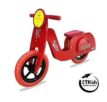 STKids Patinete de Madera Color Rojo, Ligero, para niños de ...