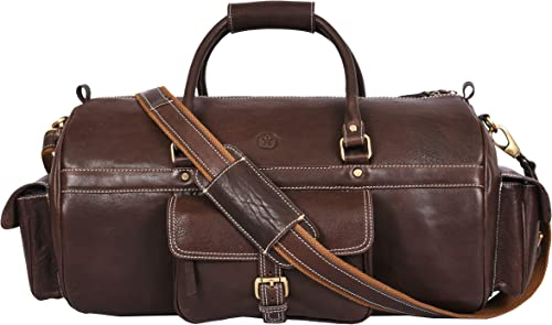 Full Grain Leather Travel Duffle Barrel Bag With Adjustable Straps Large Compartment Zippered Side Pockets Weekend Overnight Bag Coffee, 24 Inch