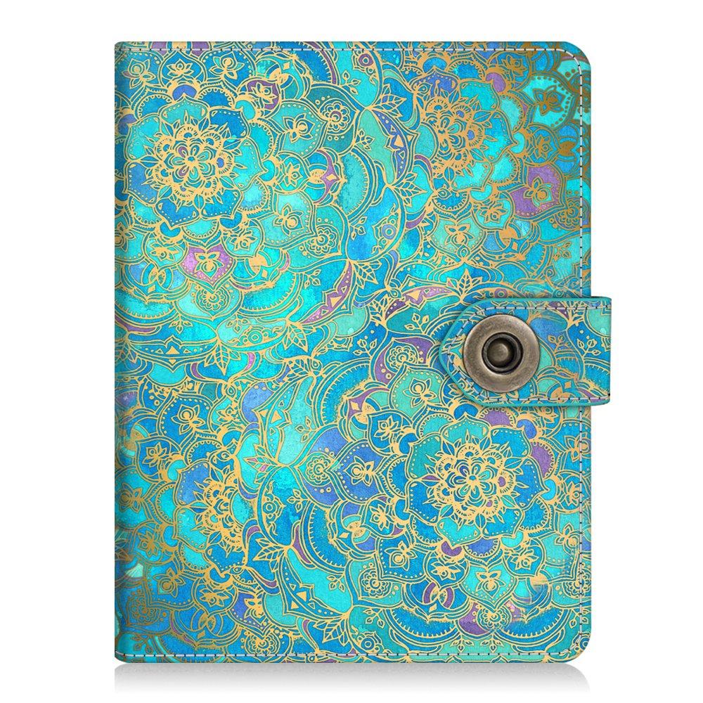 Fintie Passport Holder Cover Case, Premium Vegan Leather RFID Blocking Travel Wallet with Snap Closure, Shades of Blue