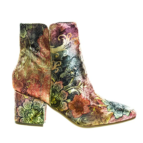 Block Heel Ankle Booties, Solid Velvet Oriental Floral Print | Cute Fall Boots Velvet Boots for Women
