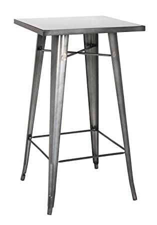 Chintaly Imports Galvanized Steel Bar Table, Gun Metal