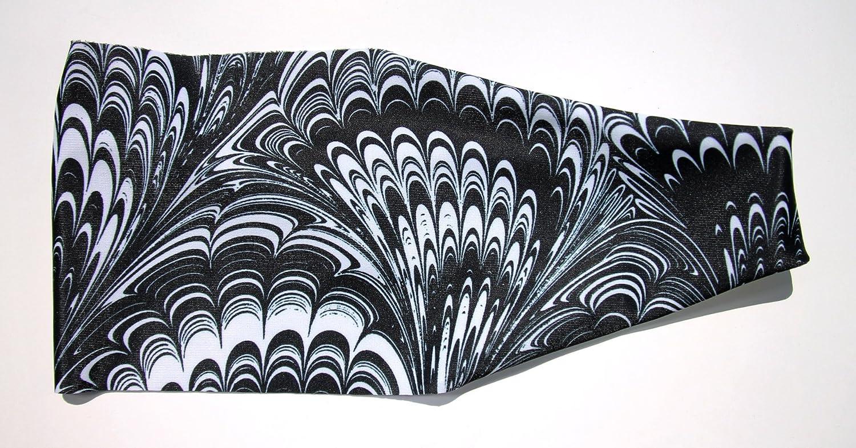 ブラックホワイトフェザー渦巻き高パフォーマンスノンスリップヘッドバンド   B06XWG1V9D