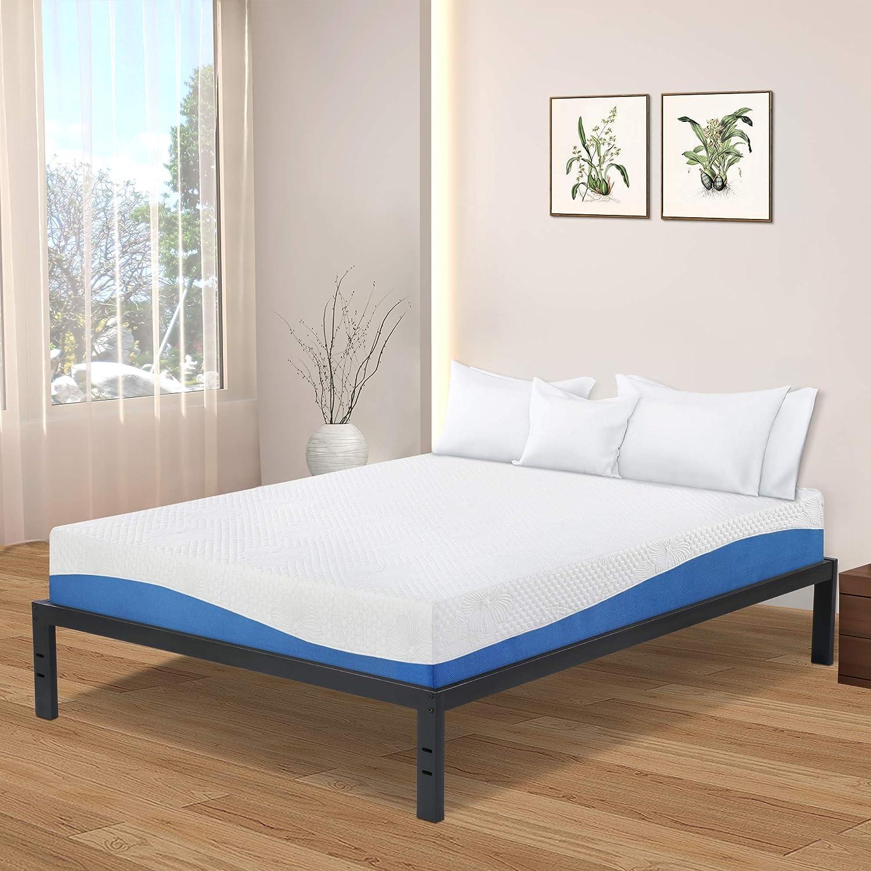 Olee Sleep New Dura Metal Steel Slate Bed Frame, Full, Black
