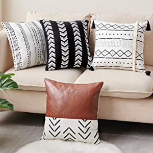 CDWERD Throw Pillow Covers 18x18Inches Set of 4 Boho Modern Farmhouse Neutral Decorative Pillowcases Faux Leather and Cotton Cushion Case for Couch, Bed, Home Decor