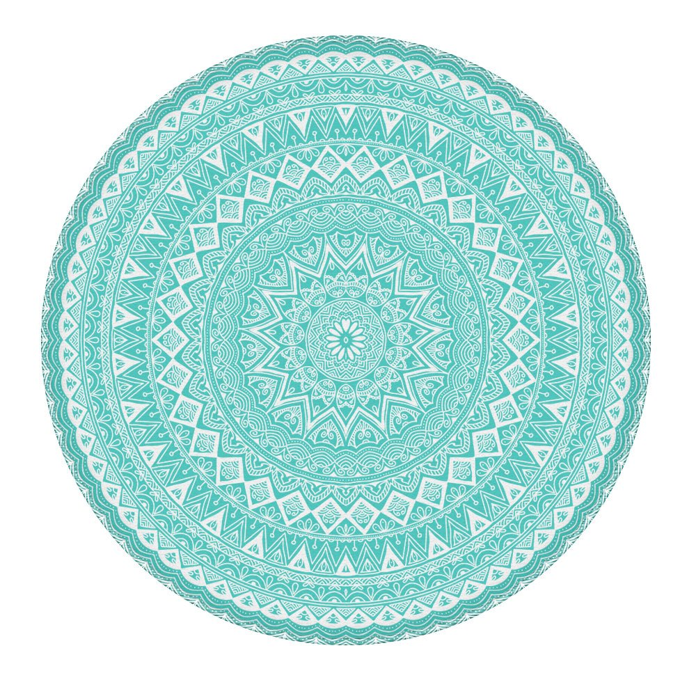 LEEVAN Modern Non-Slip Backing Machine Washable Round Area Rug Living Room Bedroom Children Playroom Soft Flannel Microfiber Carpet Floor Mat Home Decor 4' Diameter, Teal Mandala