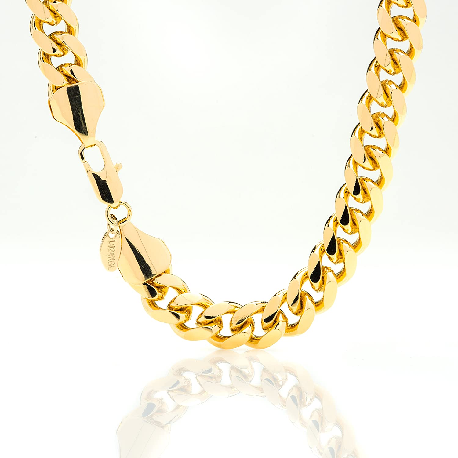 Amazon.com: Gold Cuban Link Chain 11MM, Round, 24K Overlay Premium ...