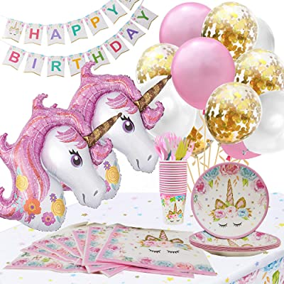 Unicorn Party Supplies Confetti-Balloons Pink-Gold: Toys & Games