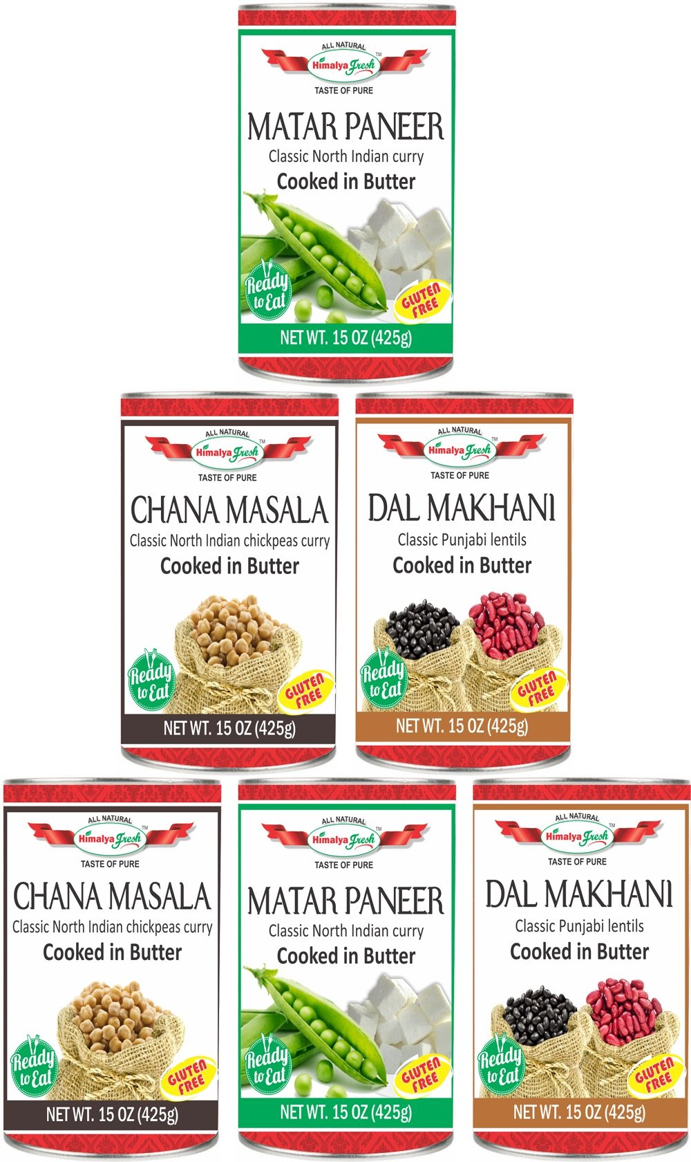 HIMALYA FRESH 6 Pack Variety of Canned Indian Curries - (Two 15 oz. cans each of Dal Makhani, Chana Masala and Matar Paneer) All Natural Authentic Indian Food - Vegetarian, No Fillers Or Preservatives by Himalya Fresh