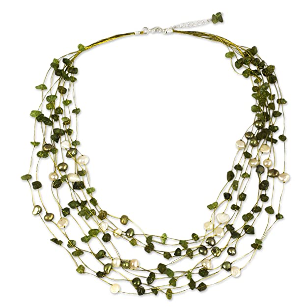 "Novica Peridot And Dyed Cultured Freshwater Pearl Strand Necklace, 20"" With 2"" Extender 'cool Shower' by Novica"