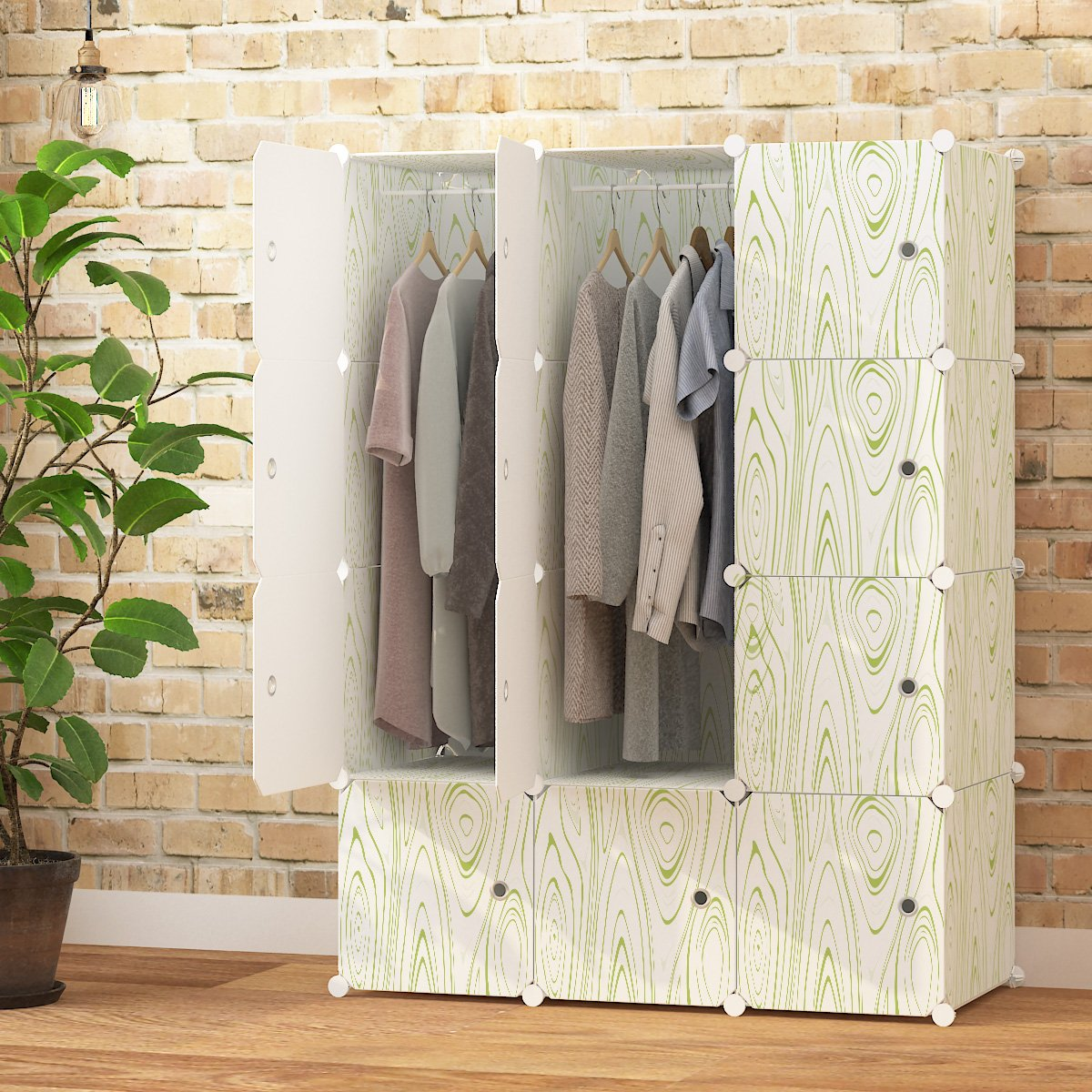 KOUSI Portable Closet Clothes Wardrobe Bedroom Armoire Storage Organizer with Doors, Capacious & Sturdy,White with Wood Grain Pattern, 6 Cubes&2 Hangers