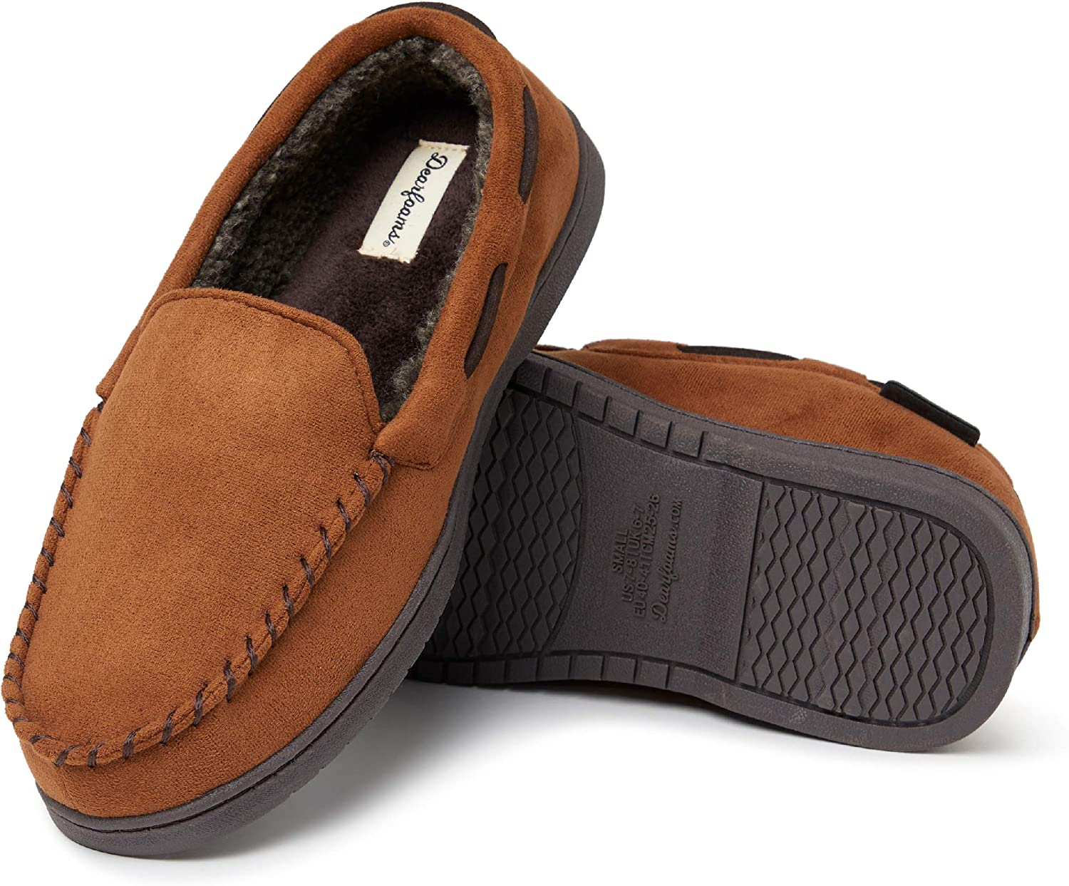 Dearfoams Men's Microsuede Moccasin with Whipstitch Slipper, Chestnut, Small