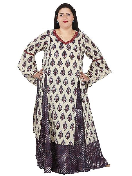 5191d0103e48 Damyantii Plus Size 2XL 3XL 4XL 5XL Set of Kurta and Skirt for Women in  Beige