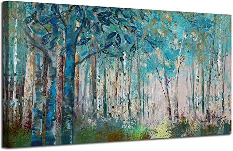 Amazon Com Ardemy Canvas Wall Art Blue Tree Forest Landscape Picture Prints Modern Birch Trees Nature Woods Abstract Painting Artwork Extra Large Framed For Home Office Living Room Bedroom Decor 60 X30 Posters