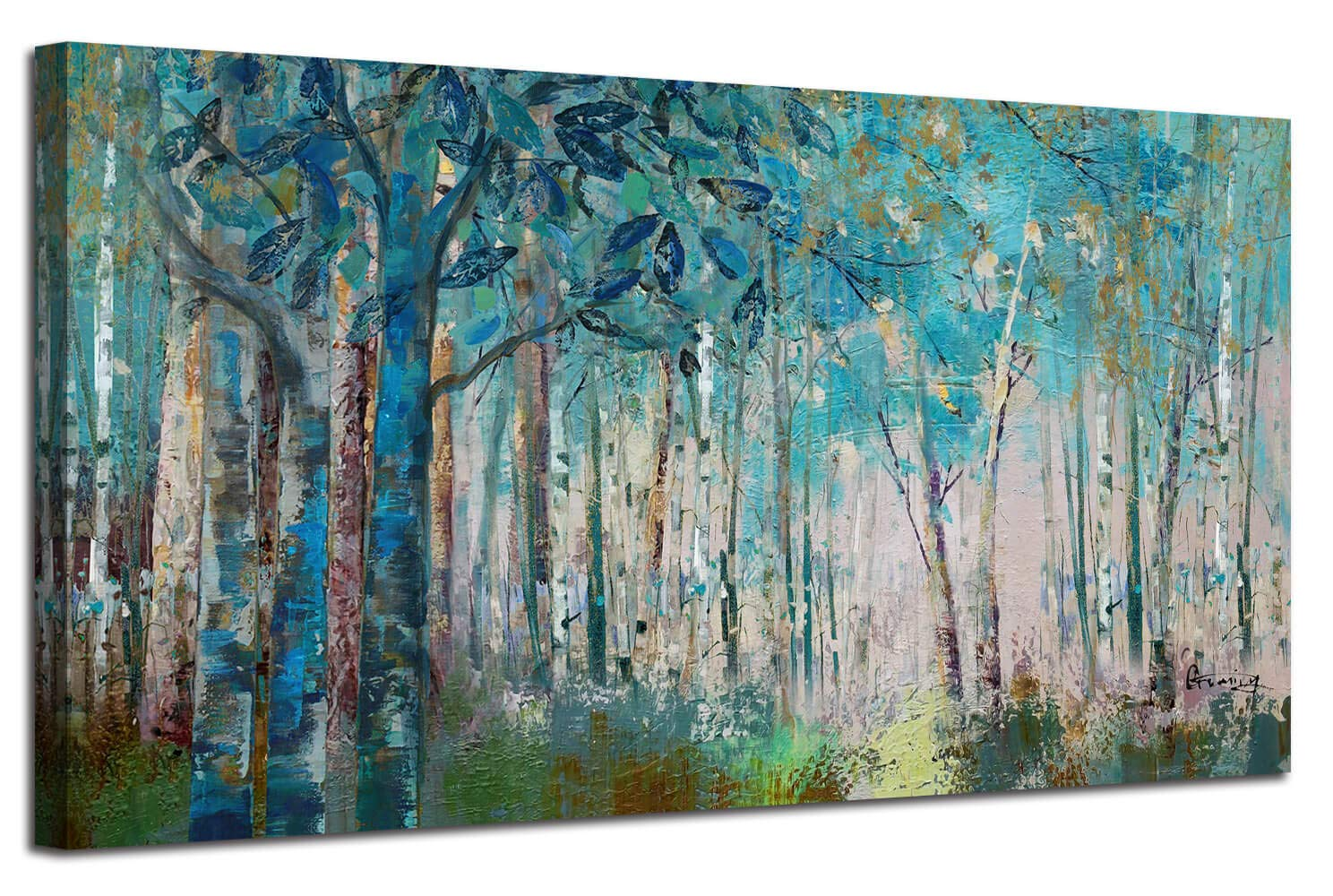 """Ardemy Canvas Wall Art Blue Tree Forest Landscape Picture Prints, Modern Birch Trees Nature Woods Abstract Painting Artwork Extra Large Framed for Home Office Living Room Bedroom Decor, 60""""x30"""""""