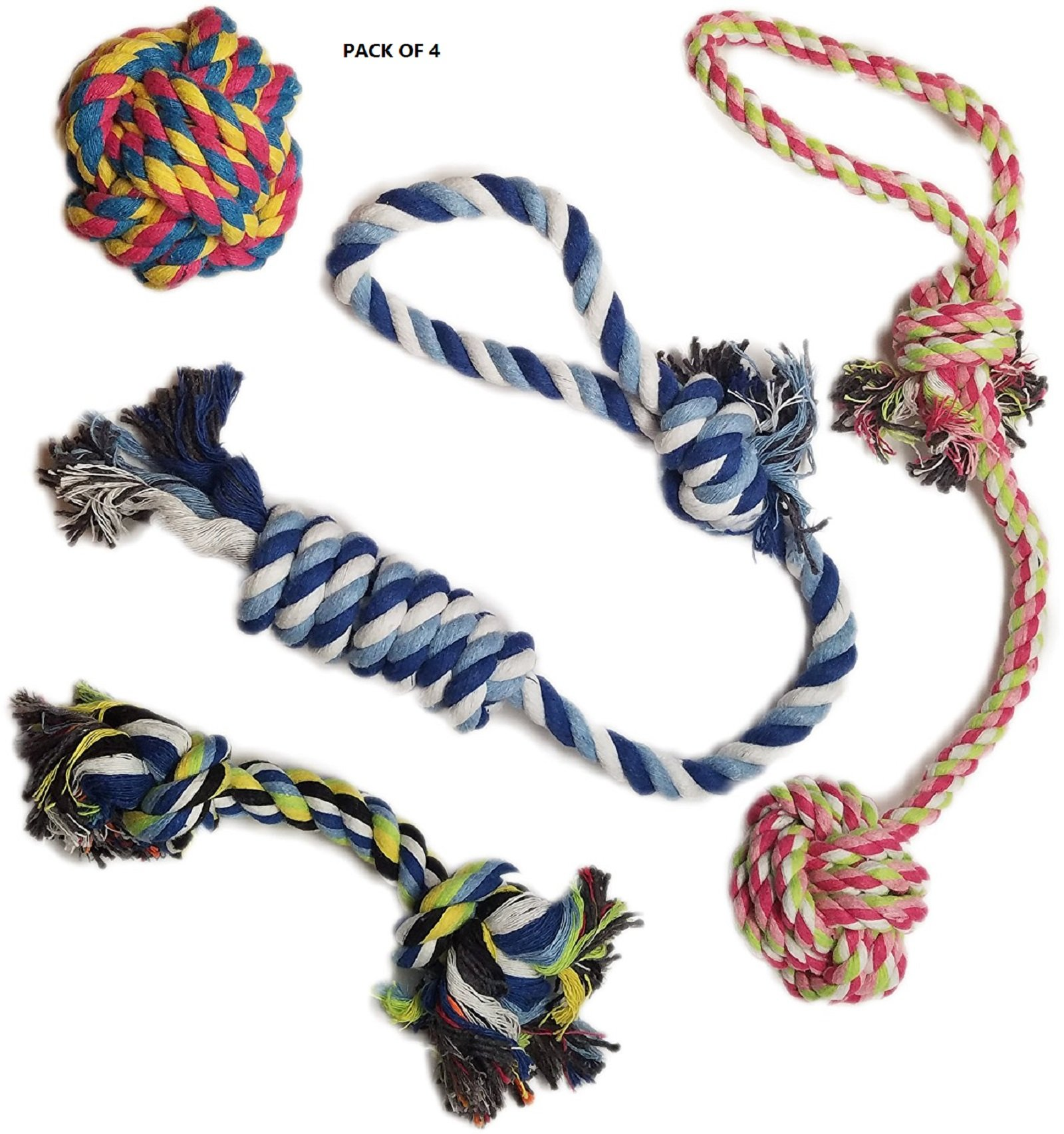 ixaer Pet Chew Toys, Set of 4 Pets Puppy Dog Pet Rope Toys For Small to Medium Dogs, Pets Puppy Dog Pet Rope Toys For Small to Medium Dogs
