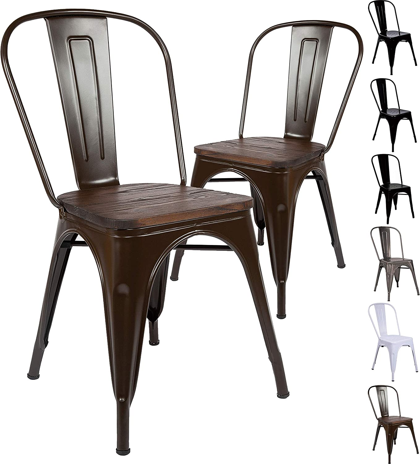 Set Of 6 Tolix Dining Chair Vintage Style Stackable Metal Chairs With Brown  Wooden Panel, Perfect for Indoor And Outdoor Use, Home Office Kitchen