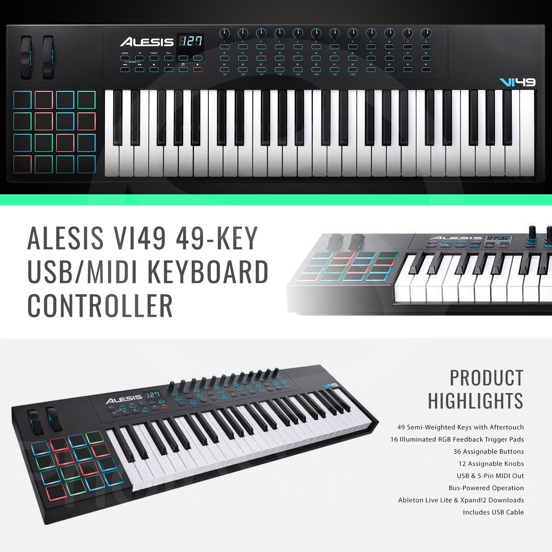 Amazon com: Alesis VI49 49-Key MIDI Keyboard and Drum Pad Controller