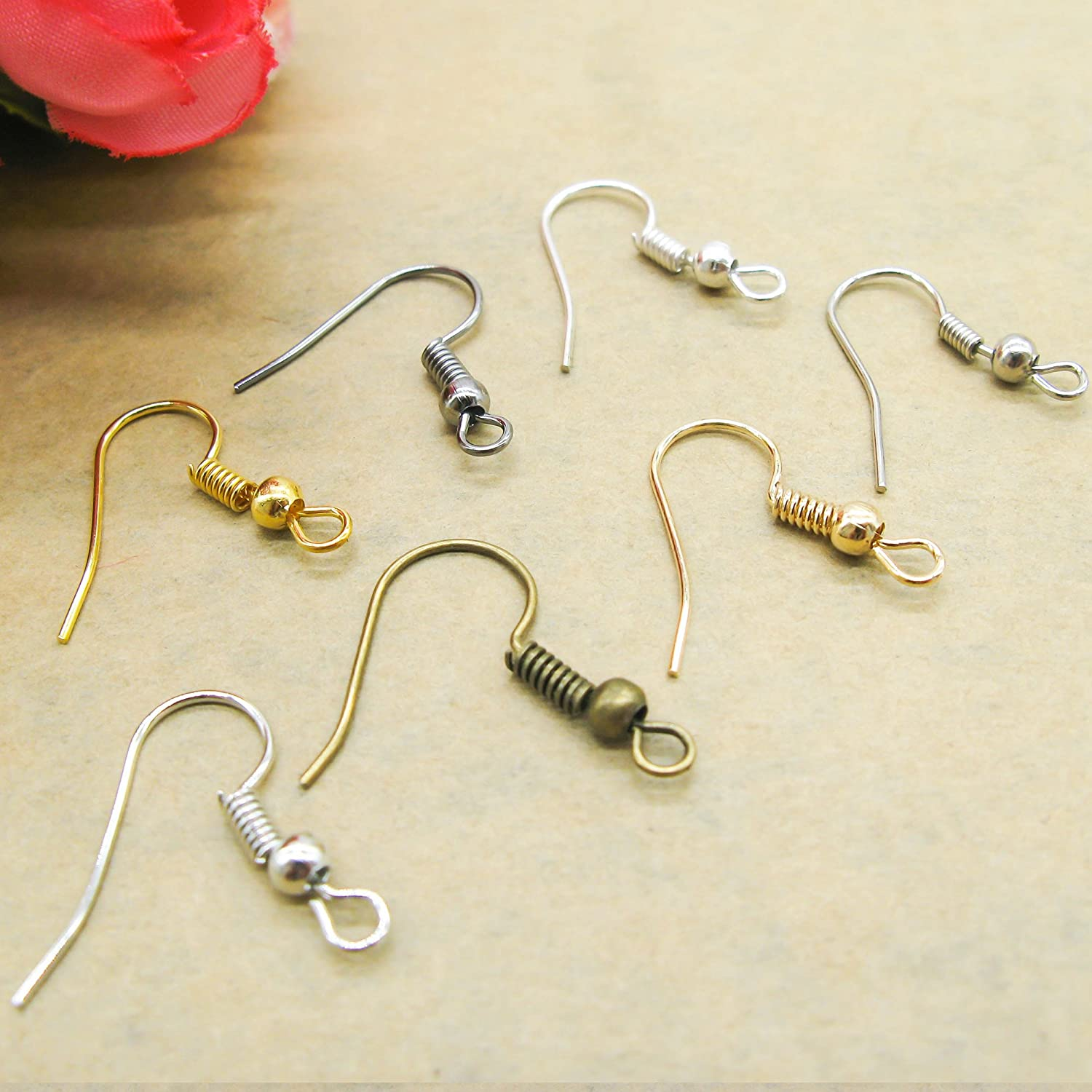 TOAOB 700pcs Earring Hooks Ear Wires 18MM Surgical Steel Hypo Allergenic with Ball and Coil Mixed Color