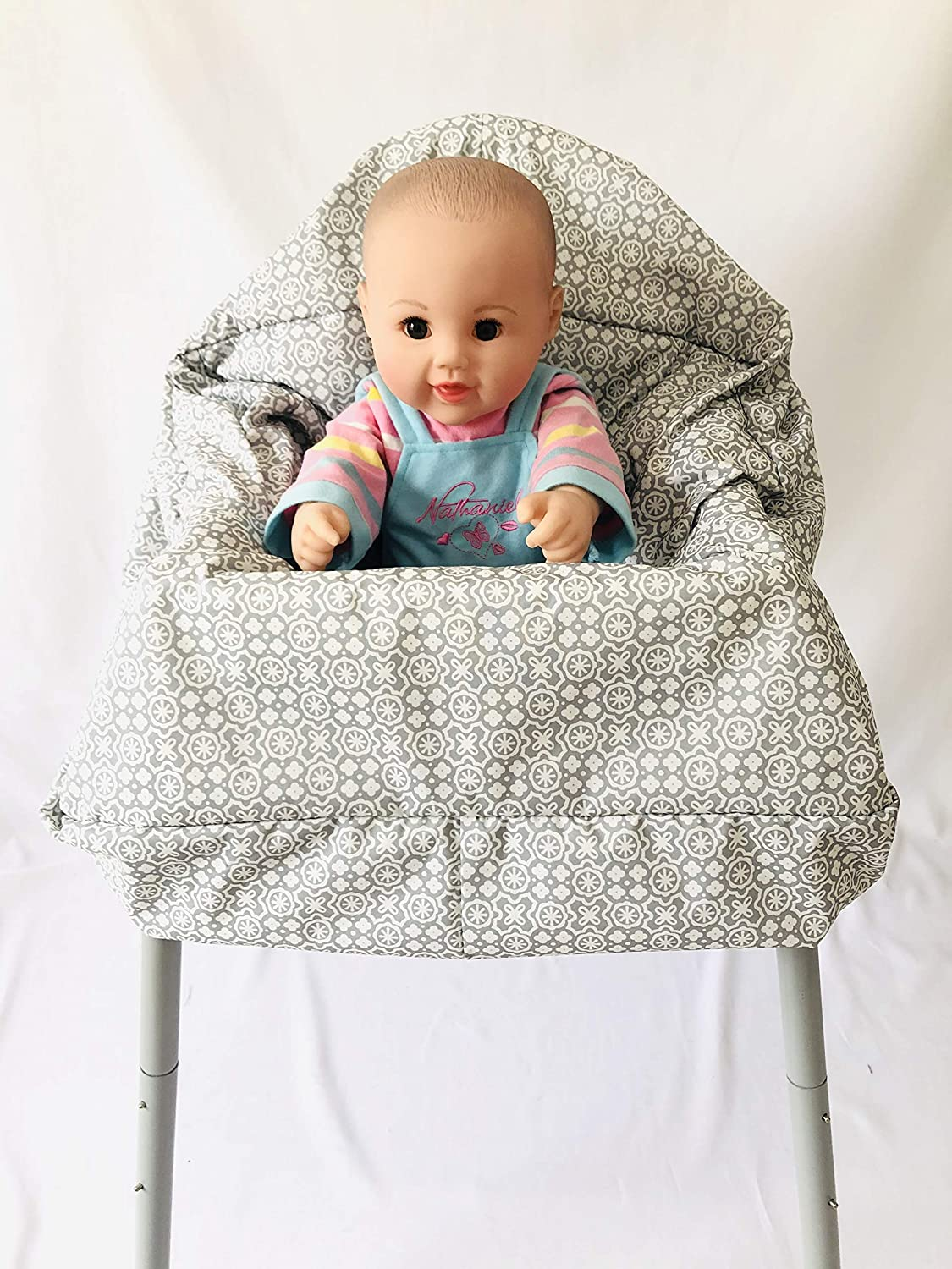 High Chair Cover for Baby Blue Wave Standard Size 2-in-1 Shopping Cart Cover with Safty Harness
