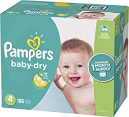 Pampers Baby Dry Disposable Diapers, Size 4, 186 Count, ONE MONTH SUPPLY