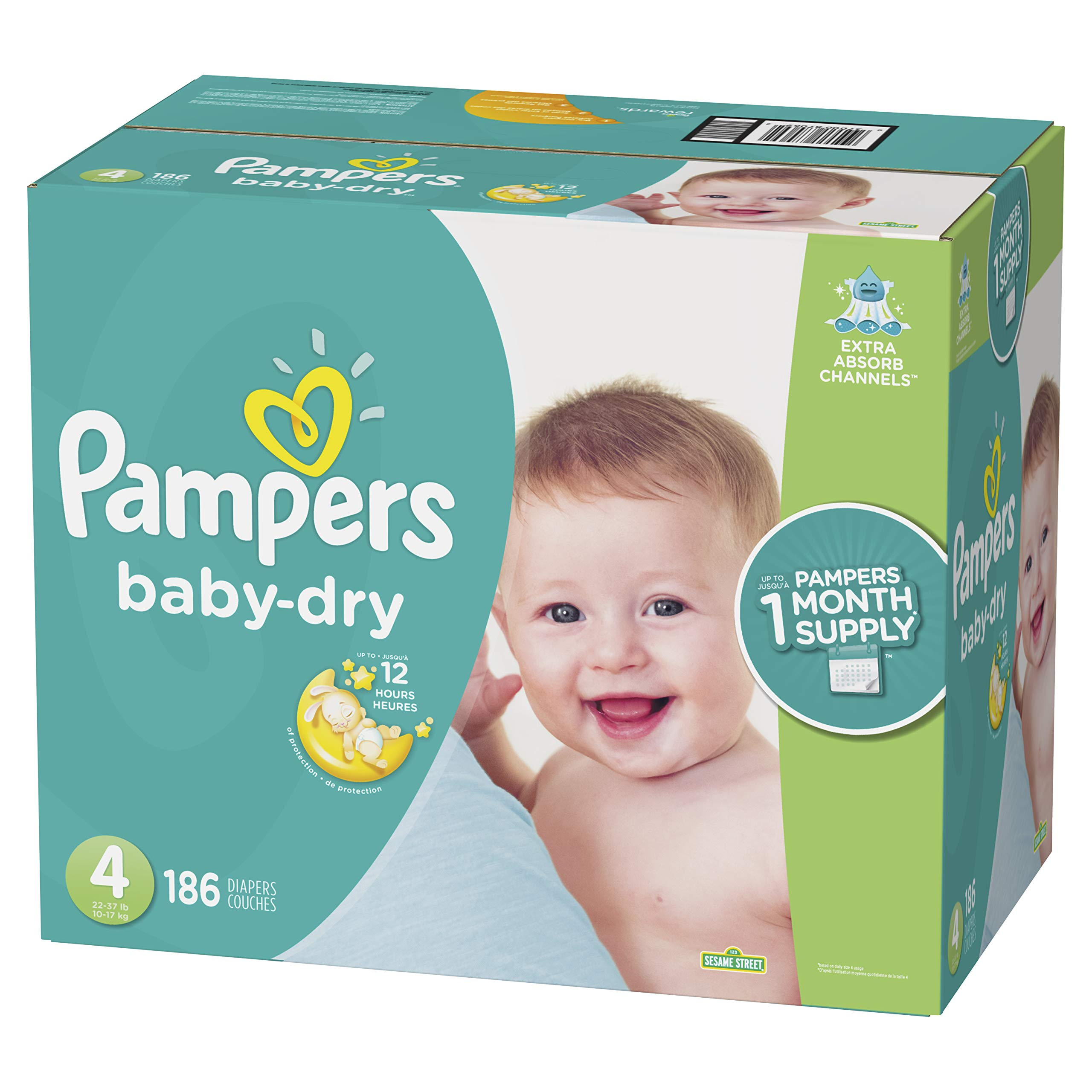Diapers Size 4, 186 Count - Pampers Baby Dry Disposable Baby Diapers, ONE MONTH SUPPLY by Pampers