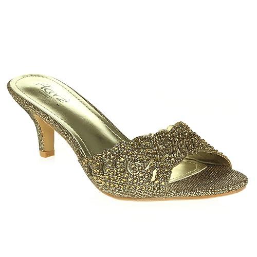 Femmes Dames Soir Mariage Fête Peep Toe Diamante Talon Bas des Sandales Marron Chaussures Taille 40 ul0hES0