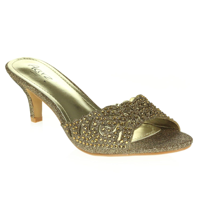 AARZ LONDON Frau Damen Kristall Diamant Abend Hochzeit Party Abschlussball Mittlere Ferse Schlüpfen Sandalen Schuhe Größe Braun