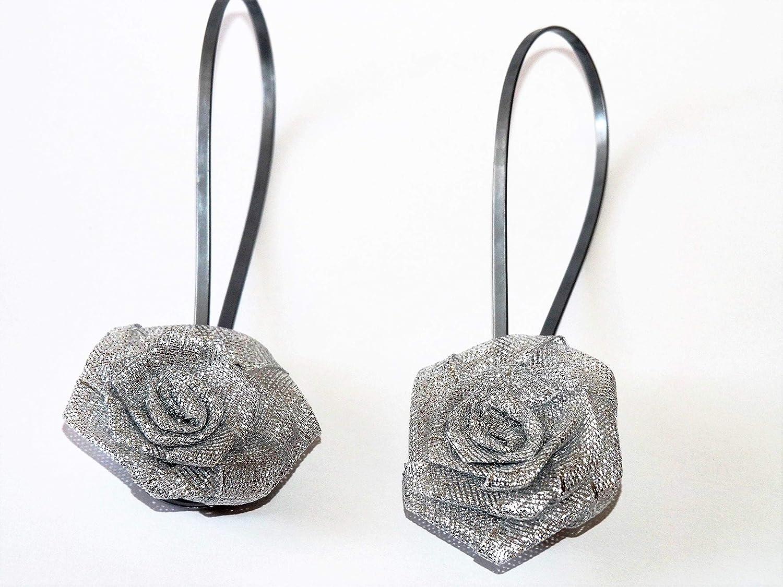 Lot de 2 pinces aimantées pour rideaux avec fleur gris Nonsoloplastica