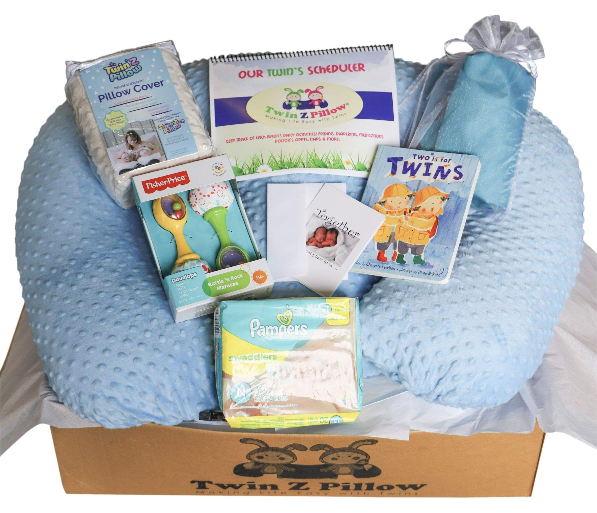 Twin Z Pillow Gold Gift Box - Twin Z Pillow + 1 Cream & 1 Blue Cover + 1 Book + 1 Pack Diapers + 1 Scheduler + 1 Travel Bag + 1 Toy + Twin Baby Card