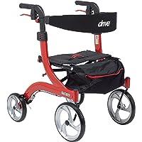 Drive Medical RTL10266-H Nitro Euro Style Walker Rollator, Hemi Height, Red