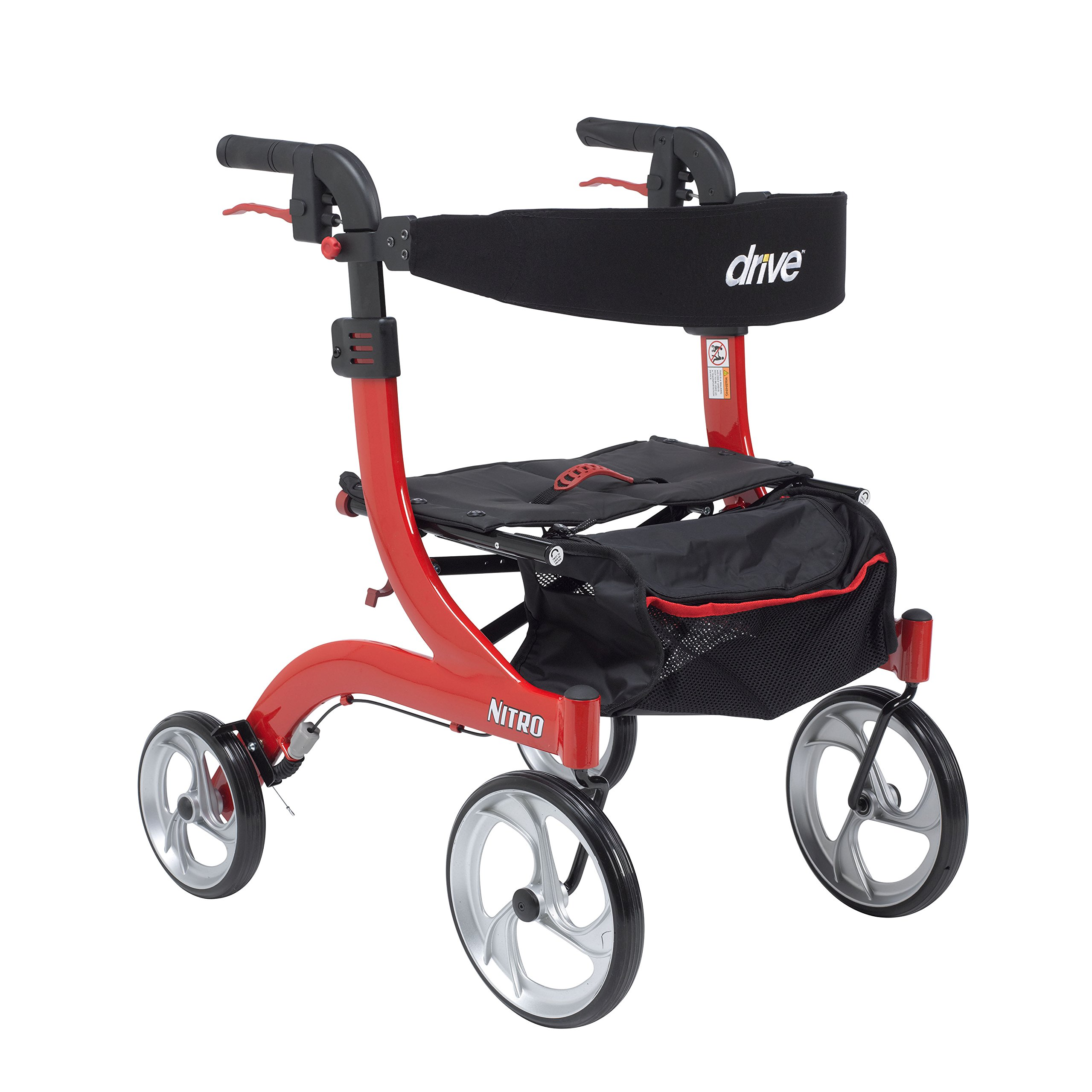 Drive Medical RTL10266-H Nitro Euro Style Walker Rollator, Petite, Red by Drive Medical