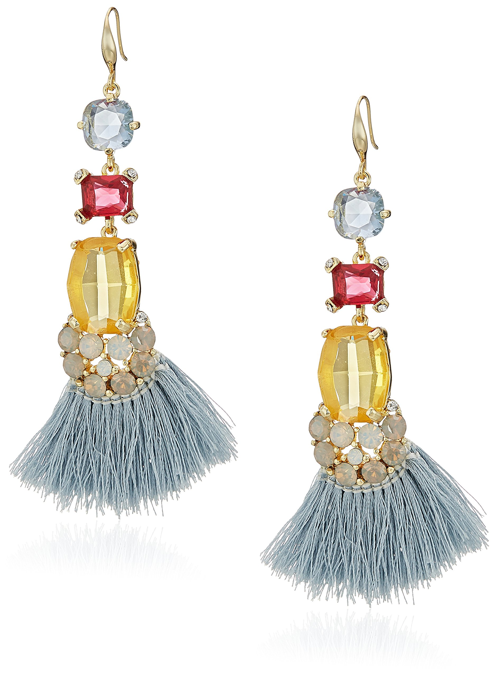 Badgley Mischka Womens Multi Stone & Blue Tassel Gold Tone Drop Earrings, One Size