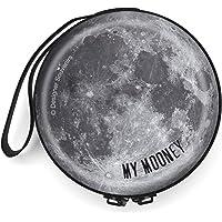 Designer Souvenirs - Monedero Pequeño con Cremallera para Mujer y Hombre con Diseño de Luna   Hecho de Metal   Cartera…