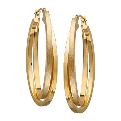 Just Gold Satin & Polished Double Oval Hoop Earrings in 14K Gold