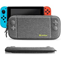tomtoc Slim Hard Case compatible with Nintendo Switch, Original Patent Portable Hardshell Travel Carrying Case fit Switch Console & 8 Game Cartridges Accessories, Grey