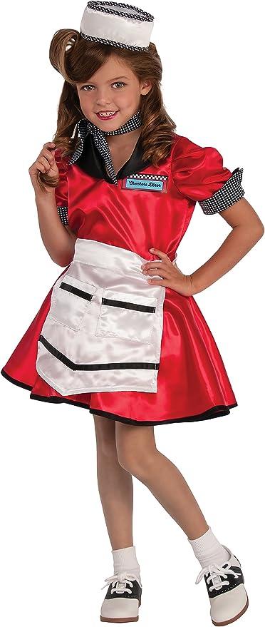 Soda Shop Waitress 50/'s Diner Retro Girl Fancy Dress Up Halloween Child Costume