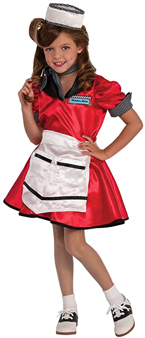Rubies Costume Child's Diner Girl Costume, Small, Multicolor