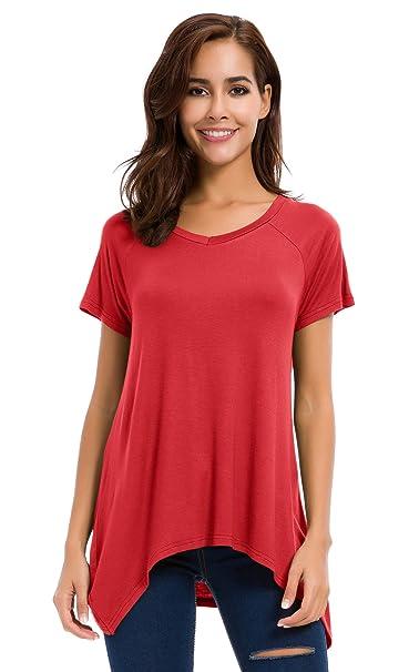 Urban GoCo Mujeres Camisetas Manga Corta Verano Plus Size T-Shirt Blusas Camisas Tops Color