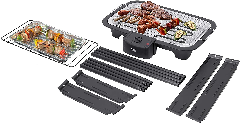 elektrischer BBQ Grill Partygrill Standgrill Tischgrill ADLER 2 in 1 Elektro Grill Cool Touch Griffe   2.000 Watt Tisch Grill elektrisch