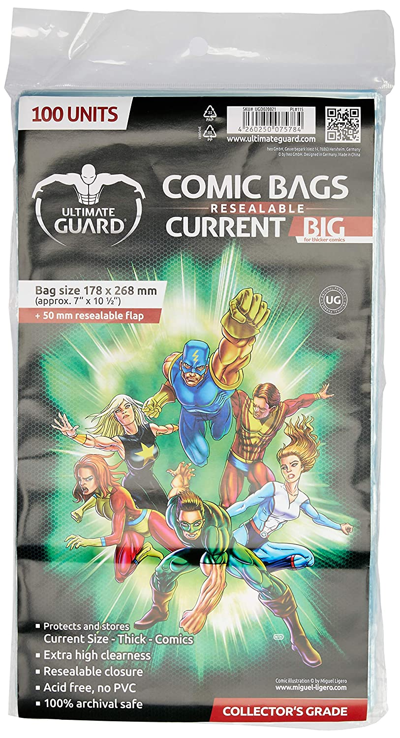 Ultimate Guard Comic Bags Big Bolsas con Cierre Reutilizable de Comics Current Size (100): Amazon.es: Juguetes y juegos