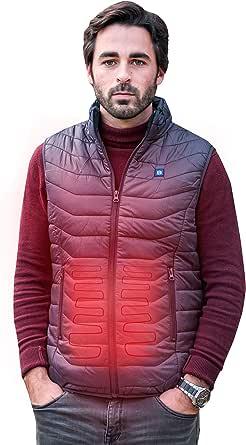 Beston Chaleco calefactable Hombre - 3 Niveles de Temperatura, 5 Zonas de calentado, hasta 7 Horas de duración, Carga tu móvil hasta 4 Veces