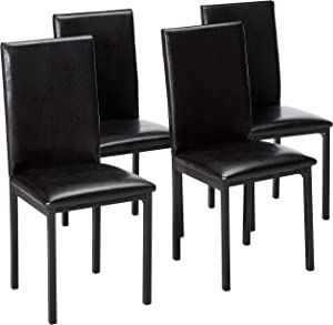 Roundhill Furniture Noyes Faux Leather Metal Frame Dining Chair, Set of 4, Black