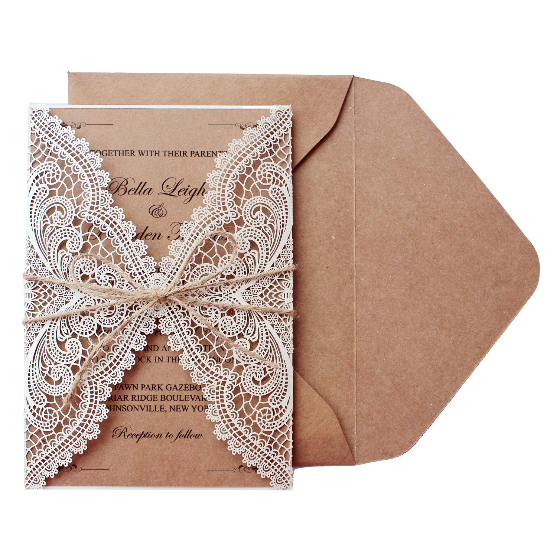 Picky Bride 50Pcs Vintage Lace Wedding Invitations Bridal Shower Invite Cards Birthday Invitations Rustic Wedding - Set of 50pcs