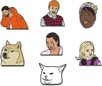 RipDesigns - 7 Meme Enamel Pins for Backpacks | Funny Pins | Meme Pins | Cool Pins | Aesthetic Pins | Enamel Pin Set | Backpack Pins | Cute Pins | Meme Gifts (Set 6)